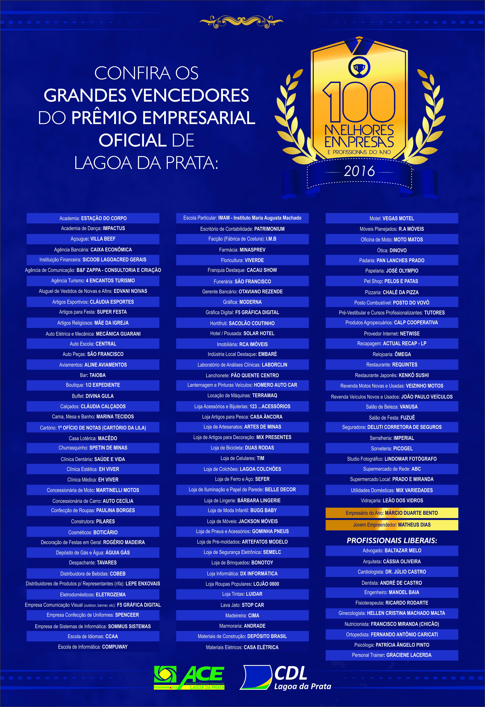 anúncio_Vencedores Prêmio Empresarial_1 página_Jornal Cidade_julho 2016